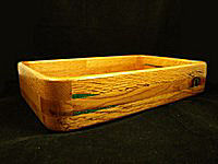 Red Oak w/chrysocolla inlay square Bowl