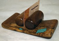 Mesquite w/Turquoise Business Card Holder