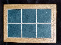White Oak Dark Blue Marble Tile Trivet